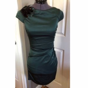 Ali Ro Emerald Peacock Feather Dress - Sz. 0